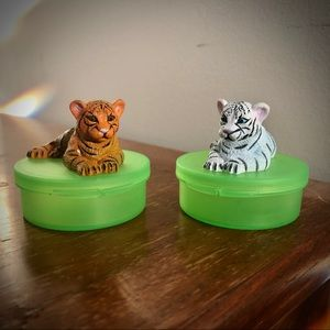 2 Tiger Pill Boxes Mini storage Containers